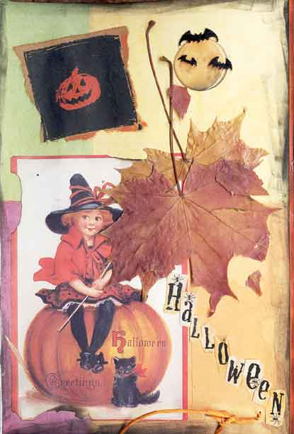 halloween altered book page